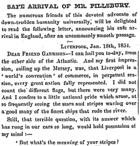 An 1854 Liberator article announcing Parker Pillsbury's safe arrival in England.